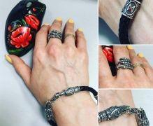 Браслет Вороны и кольцо ручной работы