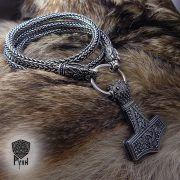 Серебрянная цепь «Волки» (плетение Викинг) фото 2