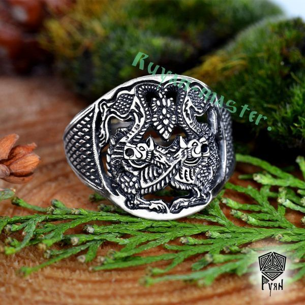 Прорезное кольцо «Варяжские волки» фото 1