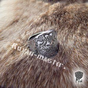"""Кольцо """"Варяжские волки"""" сплошное"""