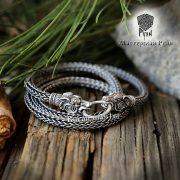 Серебрянная цепь «Волки кусачие» (плетение Викинг) фото 1