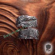Серебряное кольцо «Вороны Одина» фото 3
