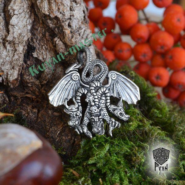 Серебряная подвеска «Змей Горыныч» фото 1