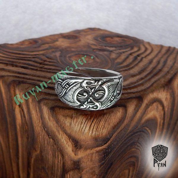 Серебряное кольцо «Драконы викингов» фото 1