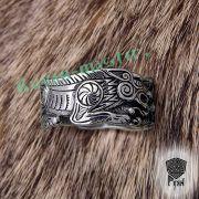Серебряное кольцо «Волки Одина» фото 7