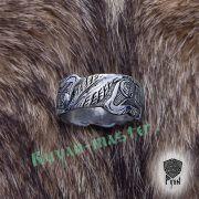 Серебряное кольцо «Волки Одина» фото 6