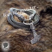 Серебрянная цепь «Волки кусачие» (плетение Викинг) фото 2
