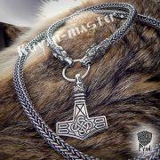 Серебрянная цепь «Волки кусачие» (плетение Викинг) фото 3