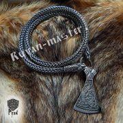 Серебрянная тотемная цепь «Львы» (плетение Викинг) фото 1