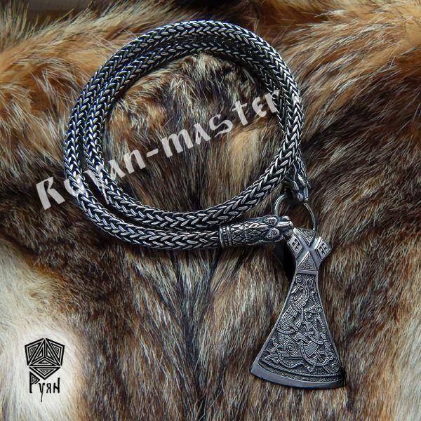 """Серебрянная тотемная цепь """"Львы"""" (плетение Викинг) фото 1"""