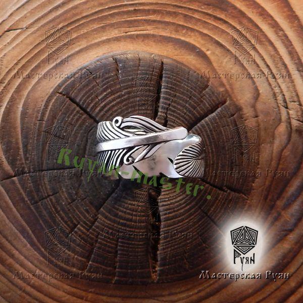 Серебряное кольцо перо Жар-Птица фото 1