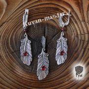 Подвеска «Перо Жар-Птицы» с камнями фото 3