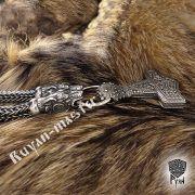 Серебрянная цепь «Волки кусачие» (плетение Викинг) фото 6