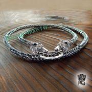Серебряная цепь «Медведи кусачие» (плетение Викинг) фото 2