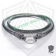 Серебрянная цепь «Волки» (плетение Викинг) фото 1
