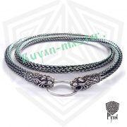Серебрянная тотемная цепь «Львы» (плетение Викинг) фото 2