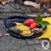 Гайтан шнур «Волки» из натуральной кожи фото 4