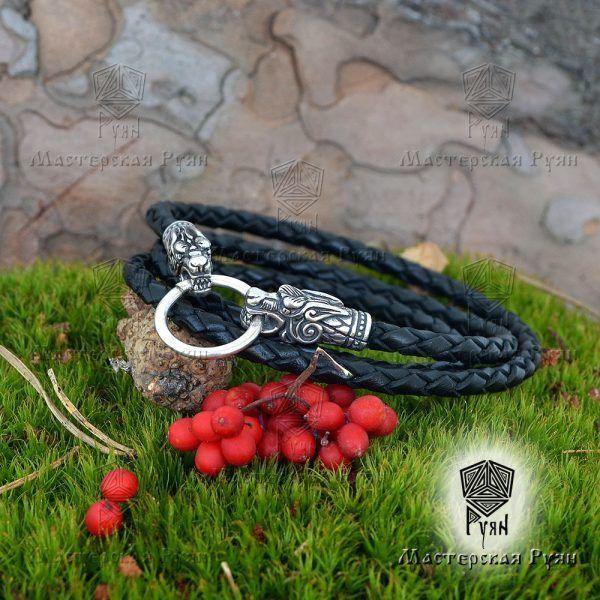 Гайтан шнур «Волки» из натуральной кожи фото 1
