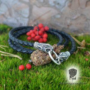 Гайтан шнур «Змеи» из натуральной кожи