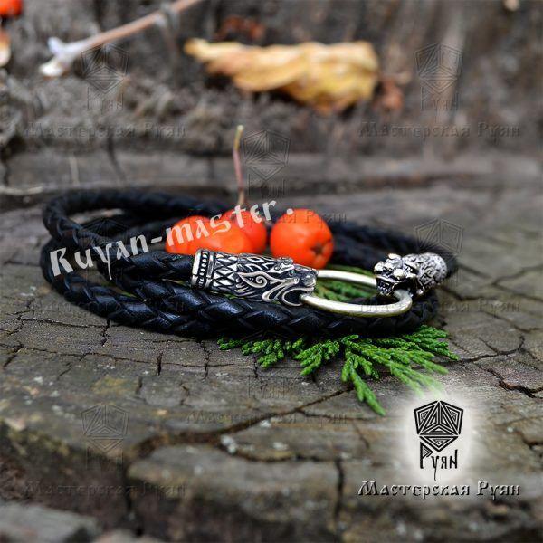 Гайтан шнур «Львы» из натуральной кожи фото 1