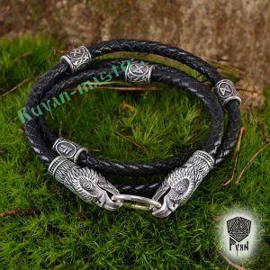 Кожаный гайтан (шнур), браслет «Орлы кусачие»