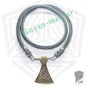 Серебрянная цепь «Волки» богатырская (плетение Викинг) фото 2