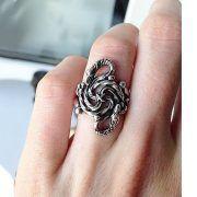Кольцо зооморфное свастичное с головой грифа и дракона фото 3
