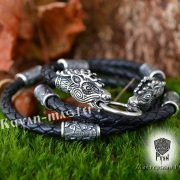 Кожаный гайтан (шнур), браслет «Олени кусачие» фото 1