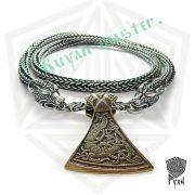 Серебрянная цепь «Волки» богатырская (плетение Викинг) фото 1