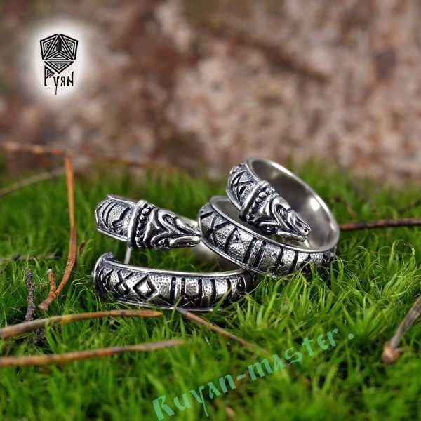 Кольцо с драконами и рунами старшего Футарка фото 1
