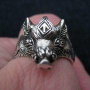 Серебряный перстень «Вепрь» с руной Тюр фото 5