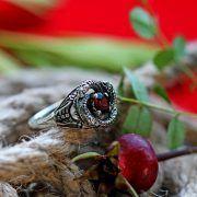Кольцо «Змеевик» с камнем фото 6