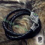 Браслет кожаный «Змеиный» фото 1