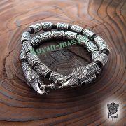 Кожаный браслет «ВОроны Одина» с рунами Старшего Футарка фото 2