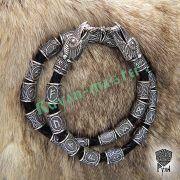 Кожаный браслет «ВОроны Одина» с рунами Старшего Футарка фото 7