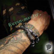 Кожаный браслет «ВОроны Одина» с рунами Старшего Футарка фото 3