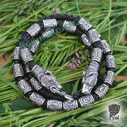 Кожаный браслет «Медведи» с бусинами Старшего Футарка фото 2