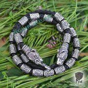 Кожаный браслет «Медведи» с бусинами Старшего Футарка фото 1