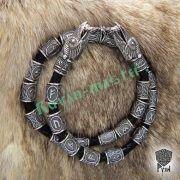 Кожаный браслет «ВОроны Одина» с рунами Старшего Футарка фото 1