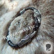 Кожаный браслет «вОроны» кусачие с 3-мя этно бусинами фото 5