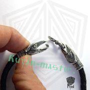 Кожаный браслет «вОроны» кусачие с 3-мя этно бусинами фото 6