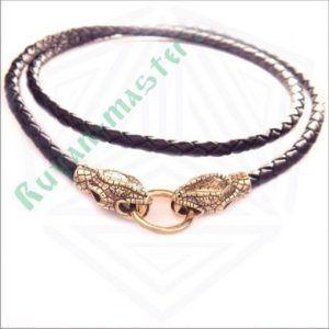 Кожаный шнур со змеями в золоте