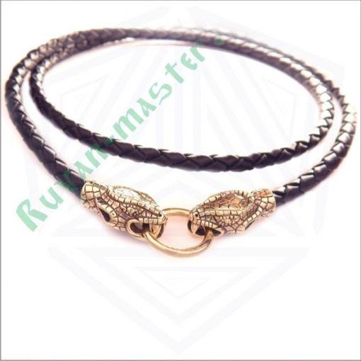 Кожаный шнур со змеями в золоте фото 1