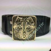 Ремень с пряжкой «Волк» фото 1