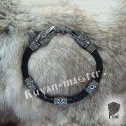 Кожаный браслет «вОроны» кусачие с 3-мя этно бусинами фото 2