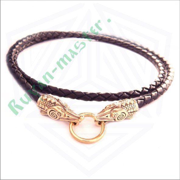Кожаный шнур с осетрами в золоте фото 1