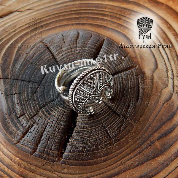 Кольцо-оберег «Лунница зерненая» фото 1