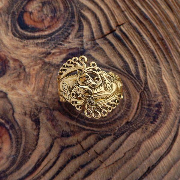 """Кольцо """"Скифские олени"""". Золото фото 1"""