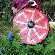 Боевой щит с Коловратом из массива дерева фото 2