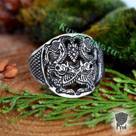Кольцо прорезное амулет волка